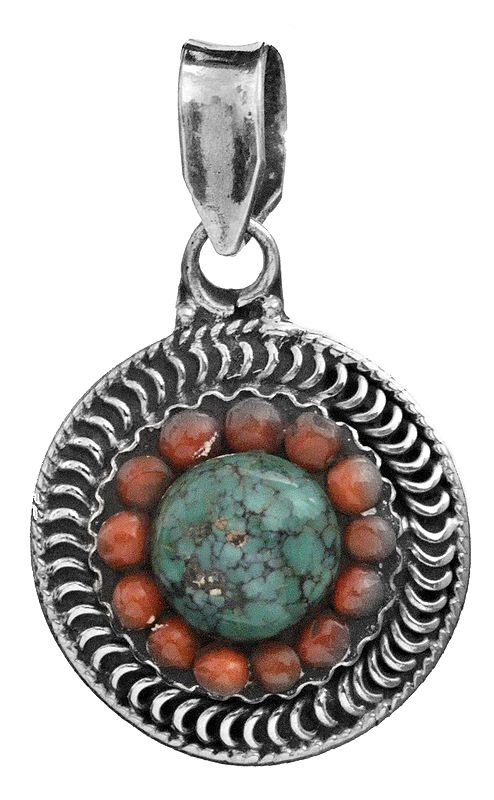 Turquoise and Coral Round Pendant