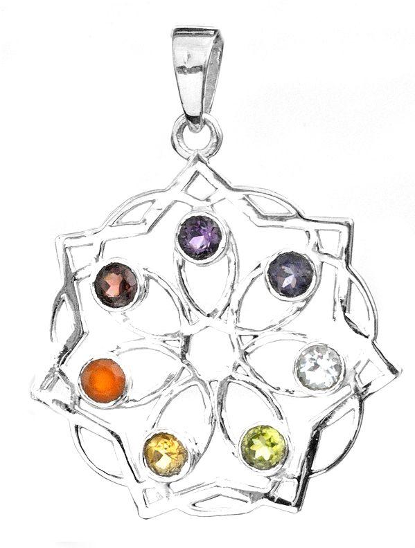 Faceted Gemstone Flower Pendant