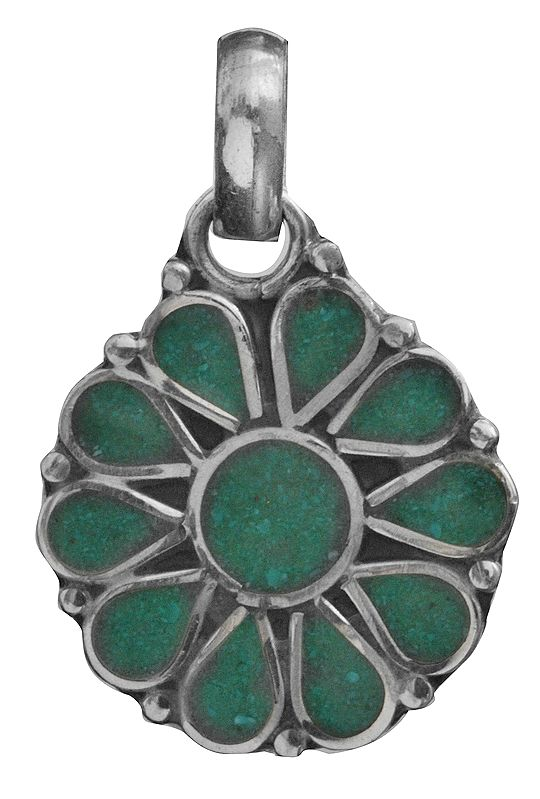 Sterling Silver Inlay Flower Pendant