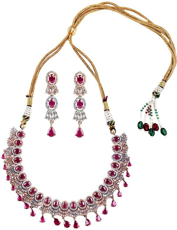 Faux Ruby with Necklace and Earrings Set with American-Diamond