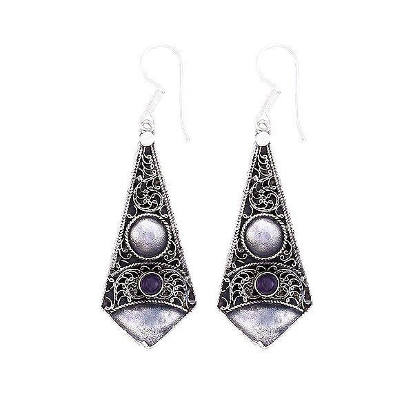Designer Sterling Silver Earrings Studded with Amethyst Stone