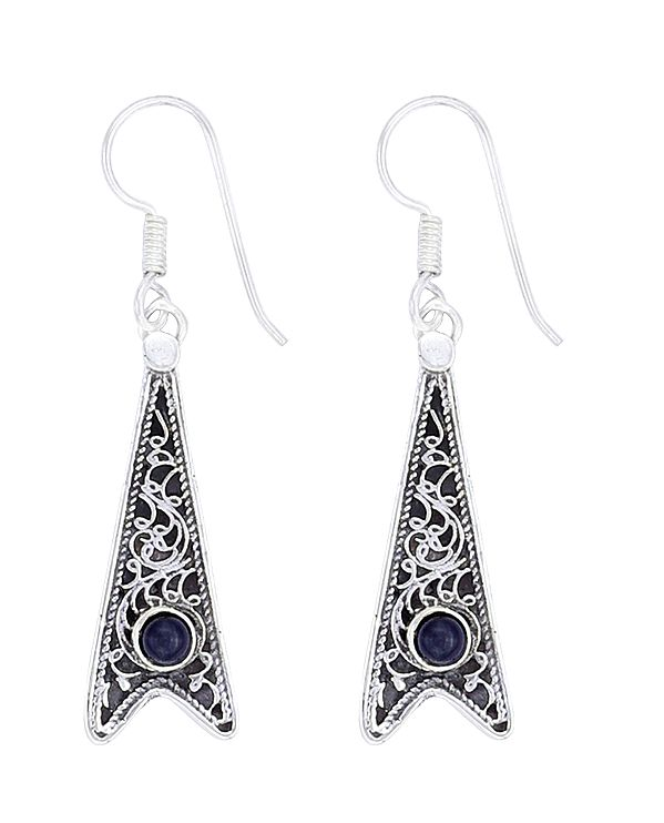 Stylish Sterling Silver Earrings with Black Onyx Stone