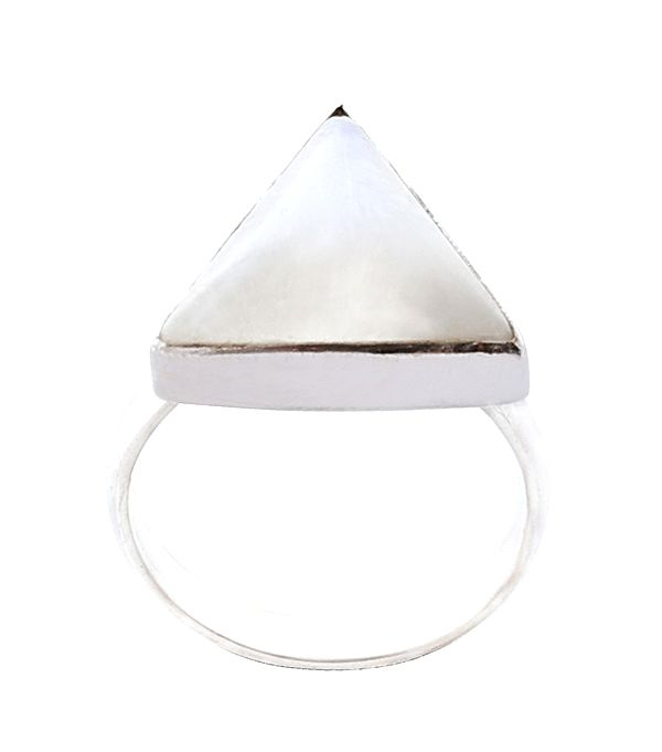 Sterling Silver Ring with a Triangle Rainbow Moonstone