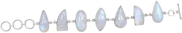 Sterling Bracelet Studded with Rainbow Moonstone