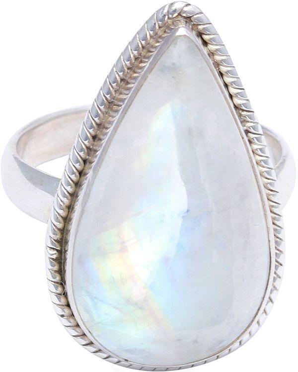 Tear-Drop Rainbow Moonstone Ring