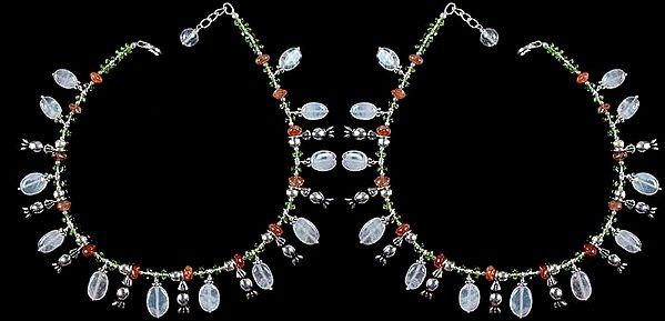 Multi color Gemstone Anklets (Price Per Pair)