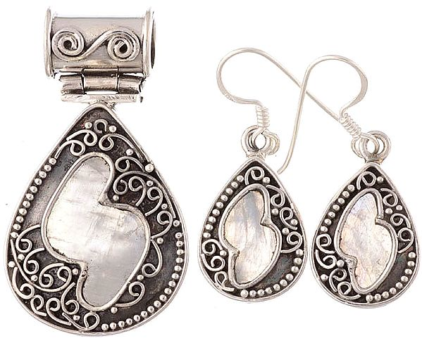 Rainbow Moonstone Teardrop Pendant with Earrings Set
