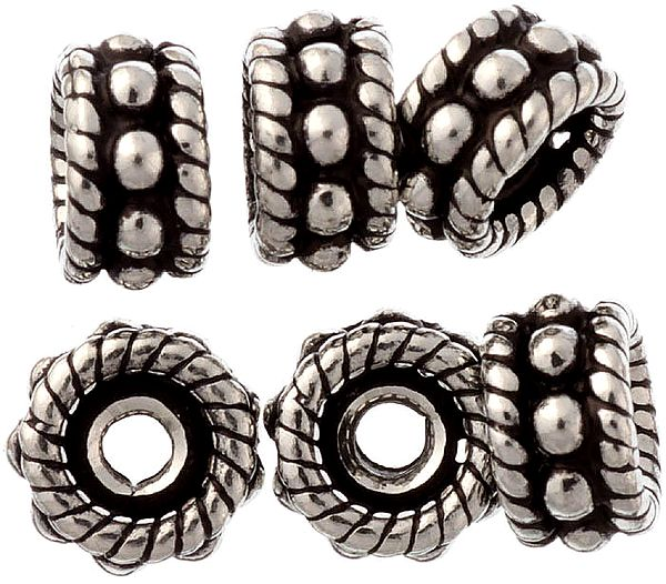 Sterling Knotted Rope Beads (Price Per Six Pices)