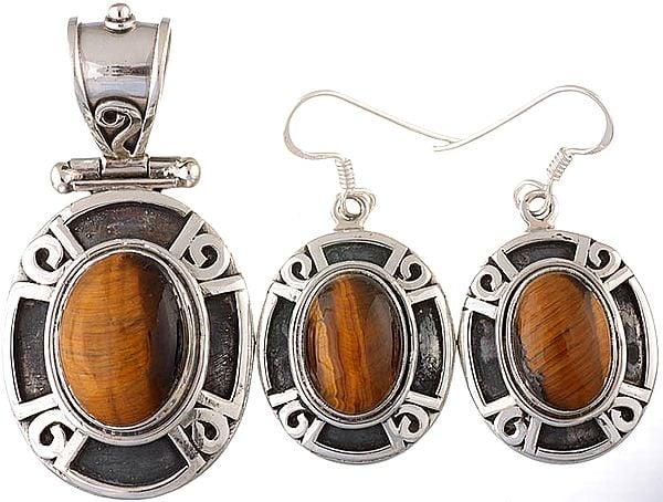 Tiger Eye Pendant with Earrings Set