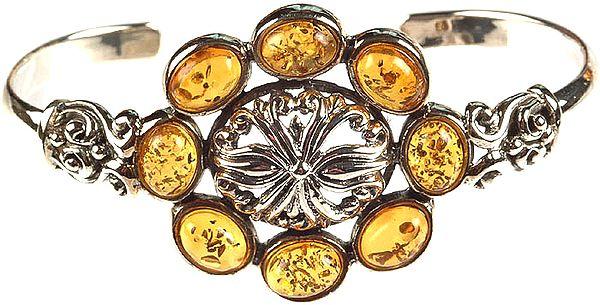 Amber Fine Bracelet with Central Flower