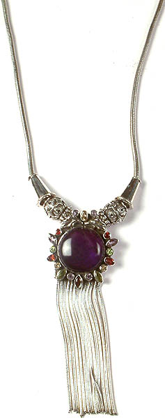 Amethyst Necklace with Sterling Shower and Gemstone