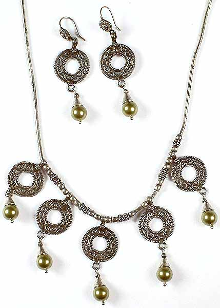 Antiquated Swarovski Necklace with Matching Earrings