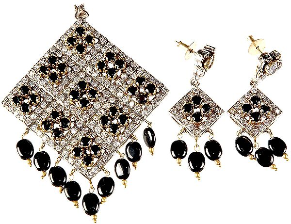 Black Onyx Rhombus Pendant with Matching Earrings