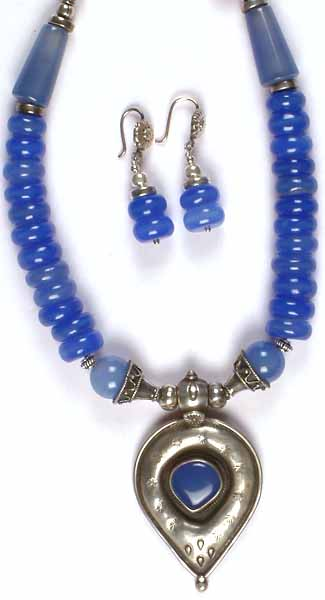 Blue Chalcedony Necklace With Matching Earrings