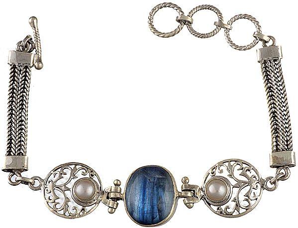 Blue Quartz Bracelet with Pearl