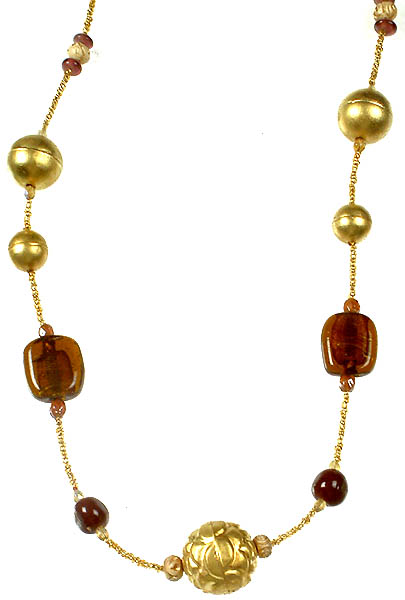 Brass and Glass Bead Necklace