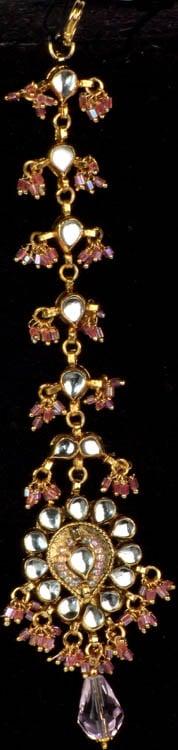 Bridal Kundan Tika with Pink Cut Glass Beads (Forehead Ornament)