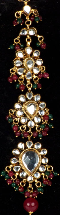 Bridal Kundan Tika with Ruby and Emerald Color Glass Beads (Forehead Ornament)