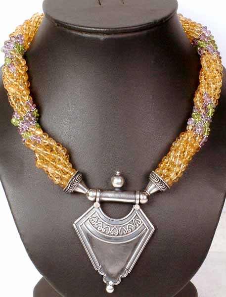 Bunch Necklace of Citrine, Peridot and Amethyst