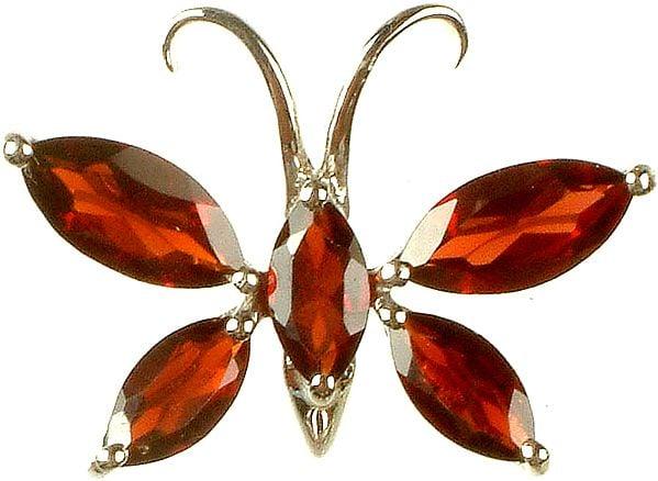 Butterfly Pendant of Garnet Marquis