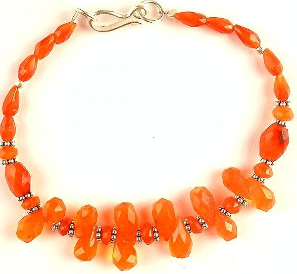 Carnelian Beaded Drop Bracelet