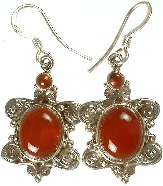 Carnelian Earrings with Spiral