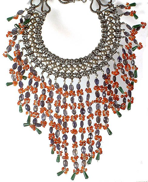 Carnelian, Iolite & Green Aventurine Beaded Necklace from Rajasthan
