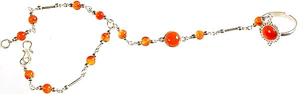 Carnelian Slave Bracelet with Finger Ring