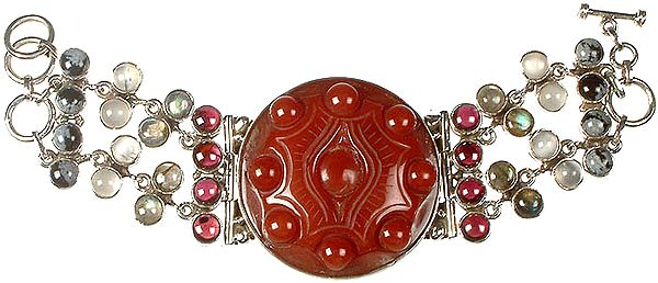 Carved Carnelian Bracelet with Obsidian Snow Flake, Grey Moonstone, Labradorite and Garnet