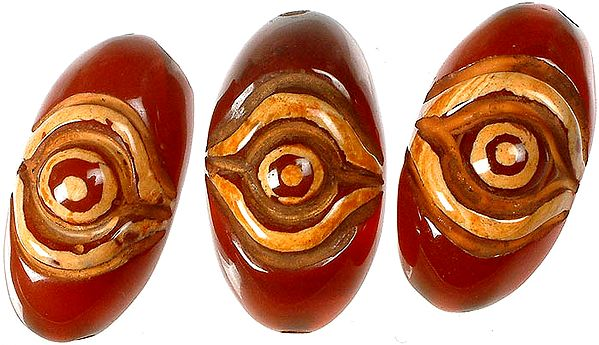 Carved Onyx Flat Eye (Ideal for Bracelet or Necklace Center)<br>(Price Per Piece)