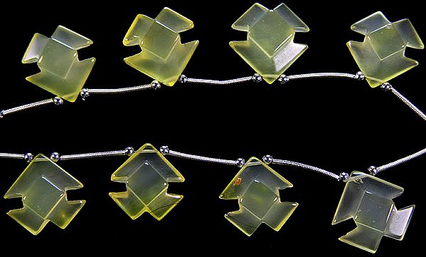 Carved Yellow Chalcedony Shapes