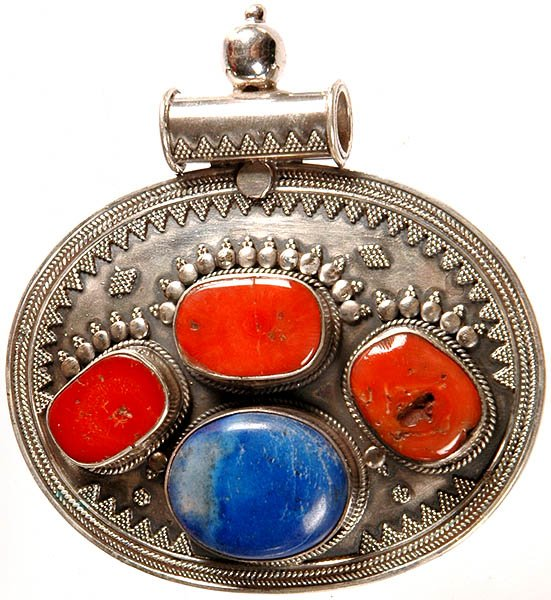 Coral and Lapis Lazuli Oval Pendant