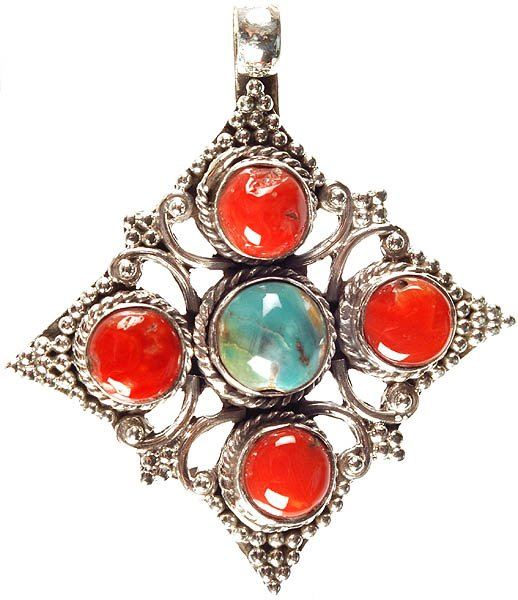 Coral Pendant with Central Turquoise