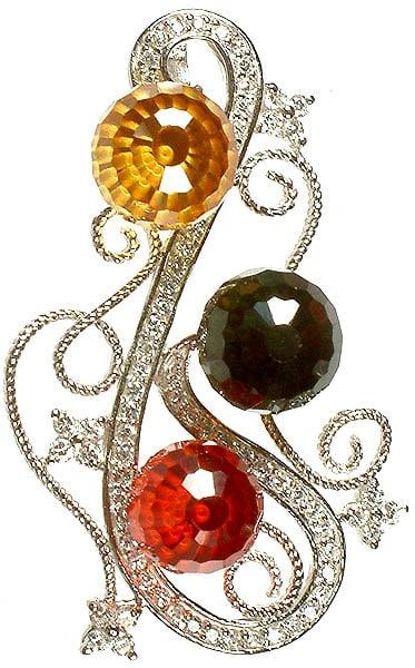 Designer Cubic Zirconia Pendant with Marcasite