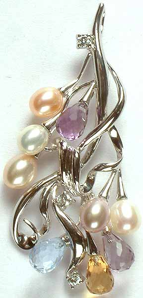 Designer Gemstone Bunch Pendant