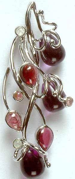 Designer Gemstone Pendant of Amethyst and Tourmaline