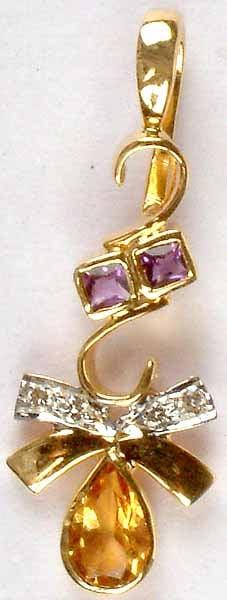 Designer Gold Pendant with Fine Cut Amethyst, Citrine & Diamonds