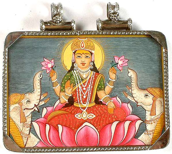 Double-Sided Pendant of Gaja-Lakshmi and A Tantric Goddess on Reverse