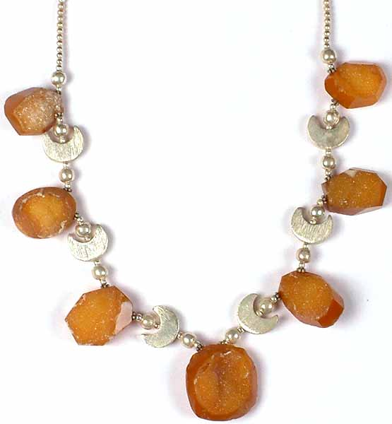 Drusy Chalcedony Necklace With Sterling Crescents