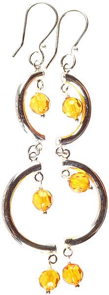 Faceted Amber Designer Earrings