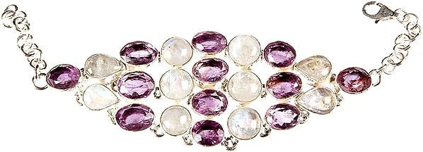 Faceted Amethyst Bracelet with Rainbow Moonstone