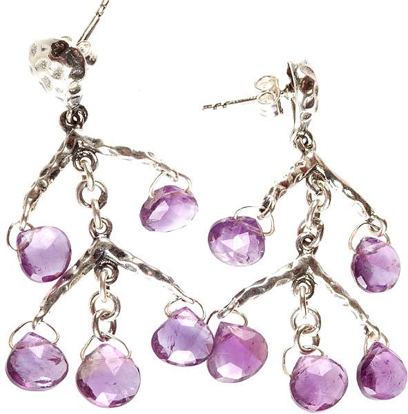 Faceted Amethyst Briolette Earrings