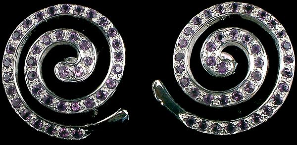 Amethyst Spiral Earrings (The Perpetual Motion of Life)