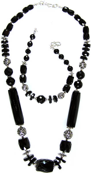 Faceted Black Onyx Necklace with Matching Bracelet Set