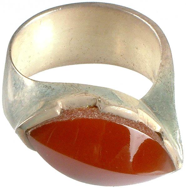Faceted Carnelian Finger Ring