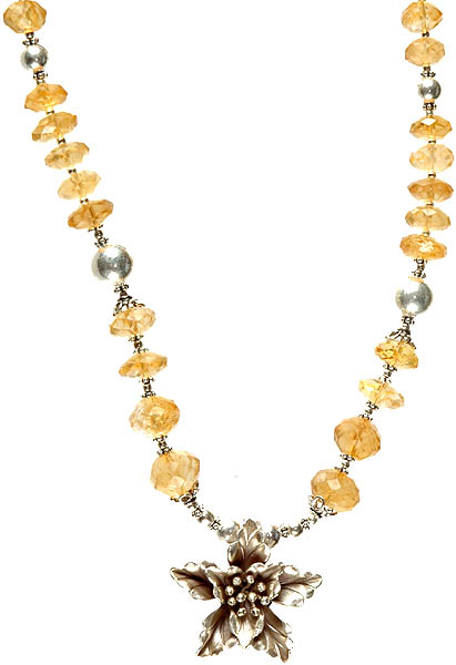Faceted Citrine Beaded Necklace with Starfish Pendant