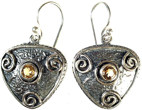Faceted Citrine Earrings with Spiral