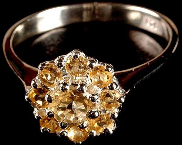 Faceted Citrine Finger Ring