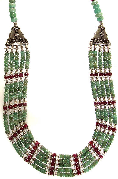 Faceted Emerald Five Layer Necklace with Ruby