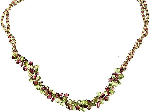 Faceted Garnet and Peridot Beaded Superfine Necklace